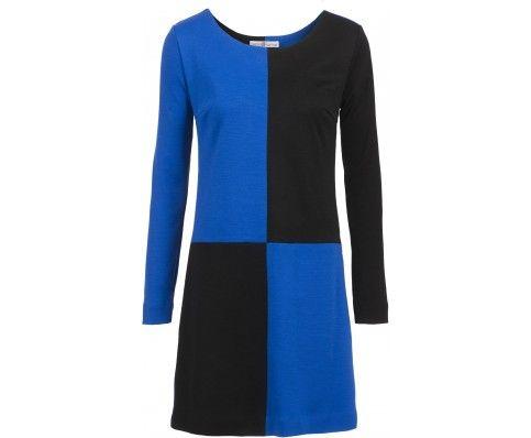 Dressfactor A-lijn jurk wol blauw zwart blokken