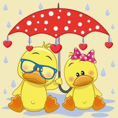 Two Ducks with umbrella vector art illustration
