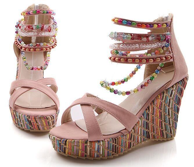 Rosa sandal med kilklack och pärlor - Excellent Lifestyle