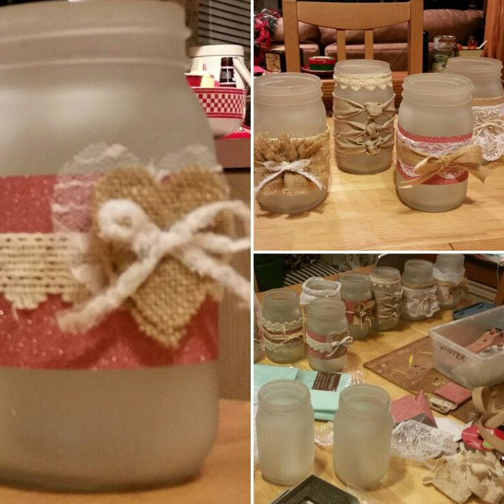 Mason jars for centerpieces. Each one  designed a little different for that shabby chic appeal. So much fun  to make!