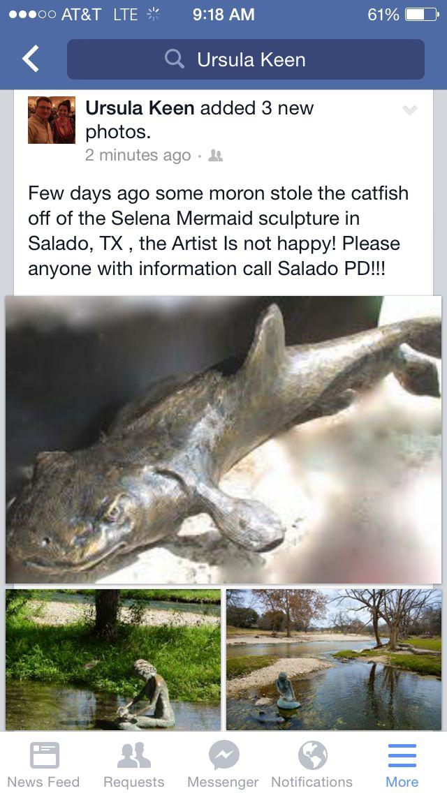 Salado TX catfish sculpture stolen June 2015 - please help!