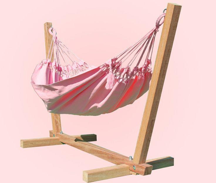 Set: Boy&Girls roze baby hangmat met een standaard