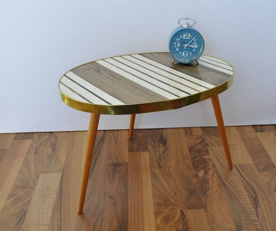 Original mid century coffee table 1960s striped pearl for Funky canape trays