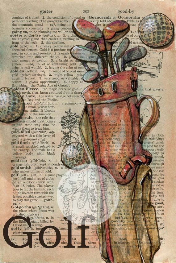 PRINT:  Golf Mixed Media Drawing on Distressed por flyingshoes