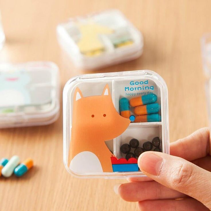 Cute Animals Organizer One Week Cases Double Layer Medicine Pill Box Drug