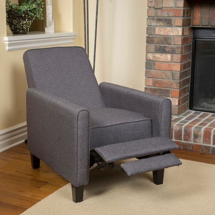 fabric recliner club chair darvis grey home furniture