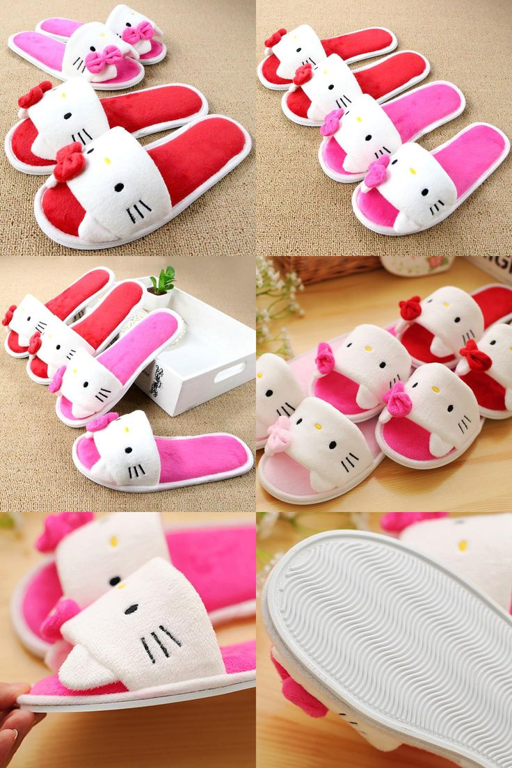 [Visit to Buy] Soft Plush Bow Hello Kitty Pink Slippers Women Men Shoes Indoor Girl Loafers Cartoon Pantuflas Pantofole Donna Chinelo Masculino #Advertisement