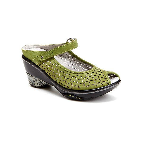 Jambu Journey Encore Sandals ($109) ❤ liked on Polyvore featuring shoes, sandals, sage, grip shoes, jambu shoes, jambu footwear, traction shoes and jambu