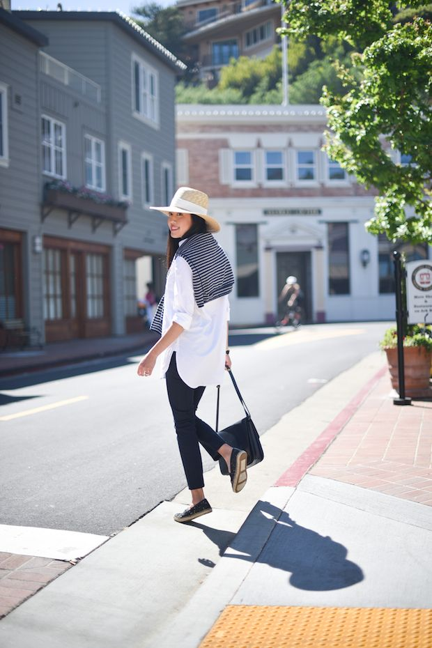 @9to5chic in the Tirion Stripe Sheer Cashmere Sweater.  http://velvet-tees.com/tirion-stripe-sheer-cashmere-sweater.html