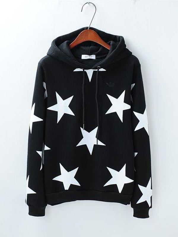 Straight Stars Round Neck Print Sports Sweatshirt