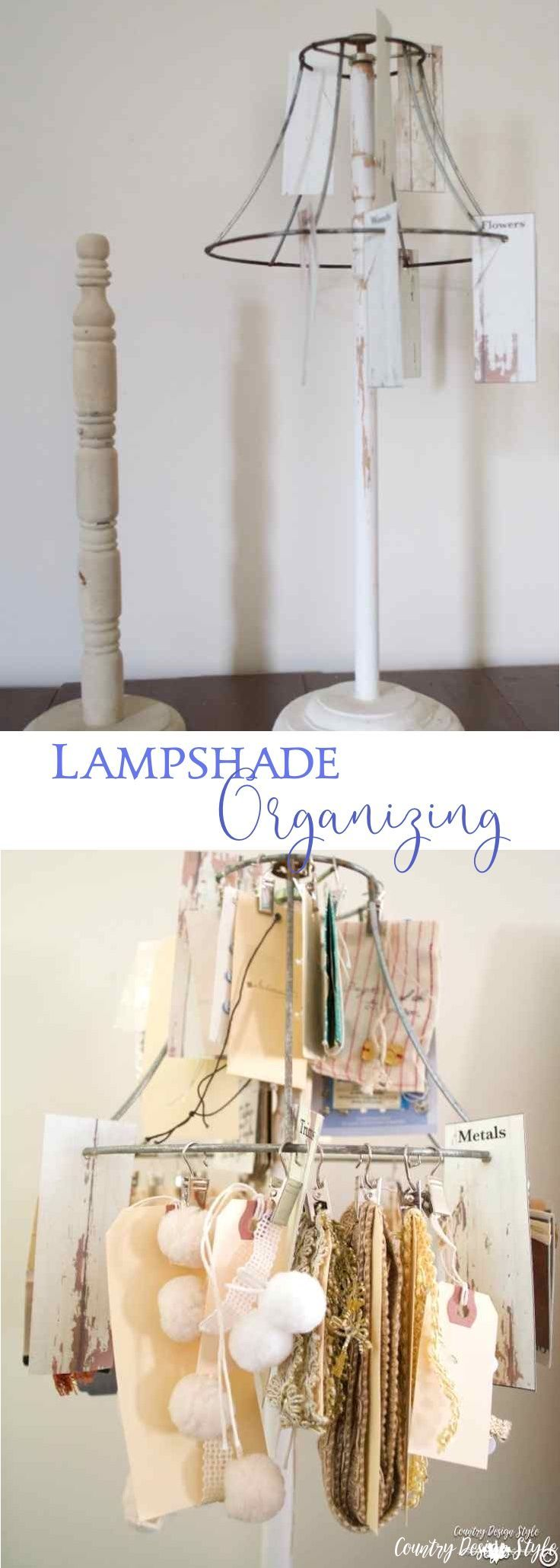 How to use an old lampshade to organize small crafting and scrapbooking supplies.  | Country Design Style | countrydesignstyle.com #organizingcraftsupplies