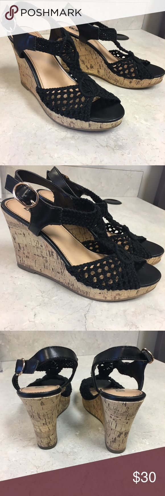 BONGO black sandal wedges LIKE NEW, WORN ONCE! Women's size 7 black BONGO dress sandal wedges. These are like brand new, was worn once to a special occasion. Excellent condition as pictured.  ✨Crochet upper ✨3in. Faux cork wedge heel ✨Buckle closure. 💥Open to offers BONGO Shoes Wedges