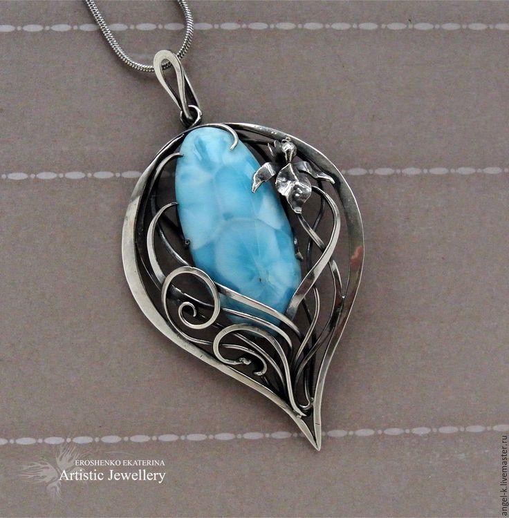 Купить ГОРНЫЕ ЦВЕТЫ серебряный кулон с ларимаром - серебряные украшения, серьги с камнями