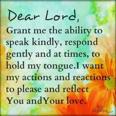 Dear Lord, Grant me the ability to speak kindly, respond gently and at times, to hold my tongue. I want my actions and reactions to please and reflect You and Your Love.