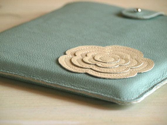 iPad 4 Case for Women / Frozen Mint and Cream Leather / Custom iPad Air Cover / flower iPad 4 case / Holidays gift for her on Etsy, $68.00