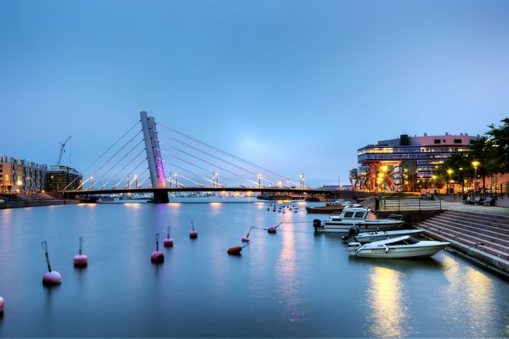 HDR photography shot of Crusellin silta bridge in Ruoholahti district of Helsinki, Finland.