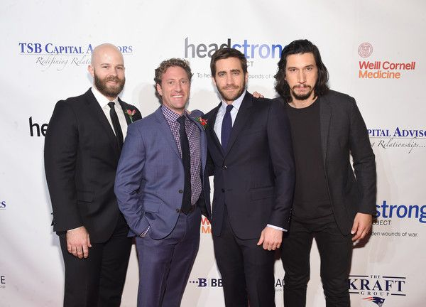 Adam Driver Photos Photos - (L-R) Marine Corps Veteran, actor Caleb Wells, Founder of Headstrong Project Zach Iscol, actors Jake Gyllenhaal and Adam Driver pose for a photo together as they attend Headstrong Project Words Of War Gala at Pier 60 on October 17, 2016 in New York City. - Headstrong Project Words of War Gala
