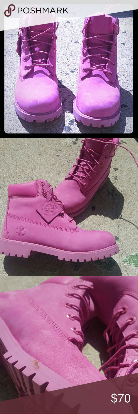 Timberland Boots All pink Timberland Boots, USED, 8/10 Condition Timberland Shoes Boots
