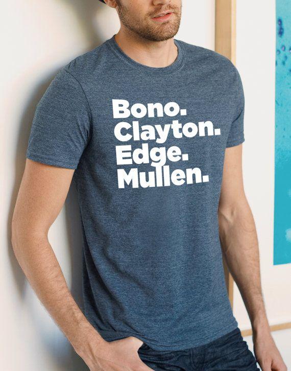 U2 T-shirt Band member line-up t-shirt Bono by Redeyeclothing
