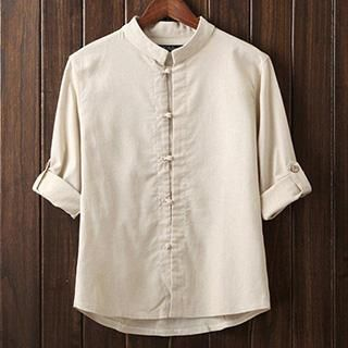 Buy 'Newlook – Tab-Sleeve Mandarin-Collar Shirt' with Free International Shipping at YesStyle.com. Browse and shop for thousands of Asian fashion items from China and more!