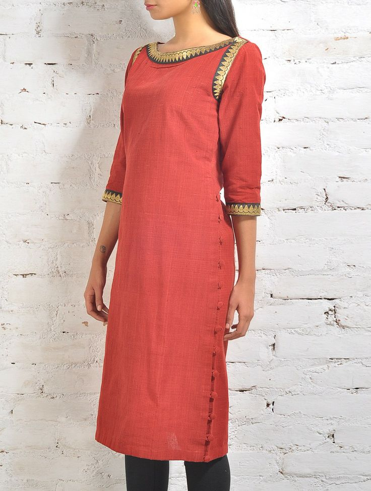 Red Malkha Kurta With Orange Embroidered Neck And Armhole