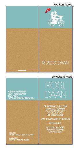 trouwkaartje op karton met blauw en wit. Ontwerp of bewerk dit kaartje zelf! Met onze ontwerp tool. www.trouwkaarten-drukkerij.nl #trouwkaarten, #wedding, #bruiloft, #kaartjes, #ontwerpen, #uitnodigingen