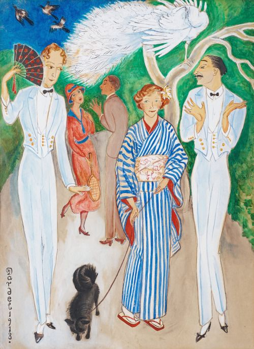 Nils von Dardel (SWE 1888-1943) Påfåglar (1918) Aquarelle (49 x 36 cm)