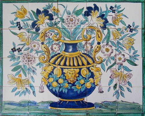 17th Century Italian Tile murals, spanish tile, victorian tile, decorative tile, ceramic tile