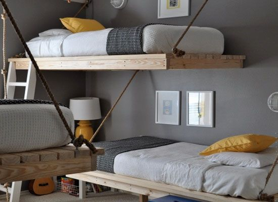 Boys Bedroom Design with 3 Hanging Beds