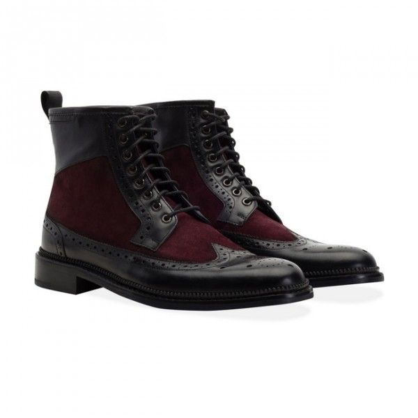 Goodwin Smith Pendleton Black & Bordo Ankle Boots Men's ankle boots with hand burnished premium waxy finish leather, overlaid on a quality suede base in contrast colours.  £135 Order yours > http://www.kindredsole.com/designers/goodwin-smith-shoes/goodwin-smith-pendleton-black-bordo-mens-ankle-boots.html
