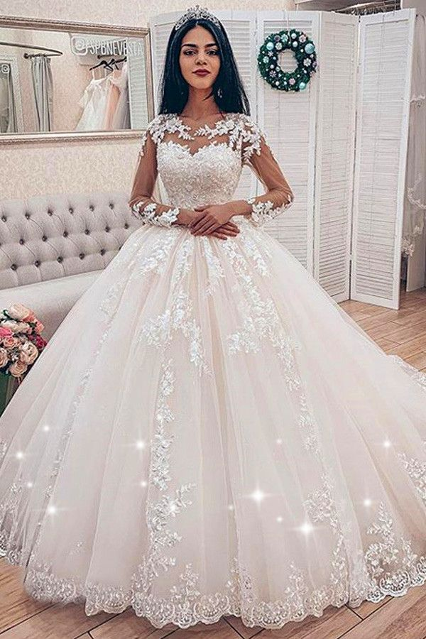 Fabulous Tulle Jewel Neckline Ball Robe Wedding ceremony Clothes With Beaded Lace Appliques