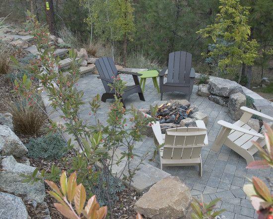 Sloped Backyard Design, stone retaining wall, fire-pit, landscape