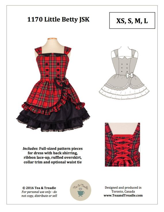 PAPER XS-3X Lolita Sewing Pattern: 1170 Little Betty JSK