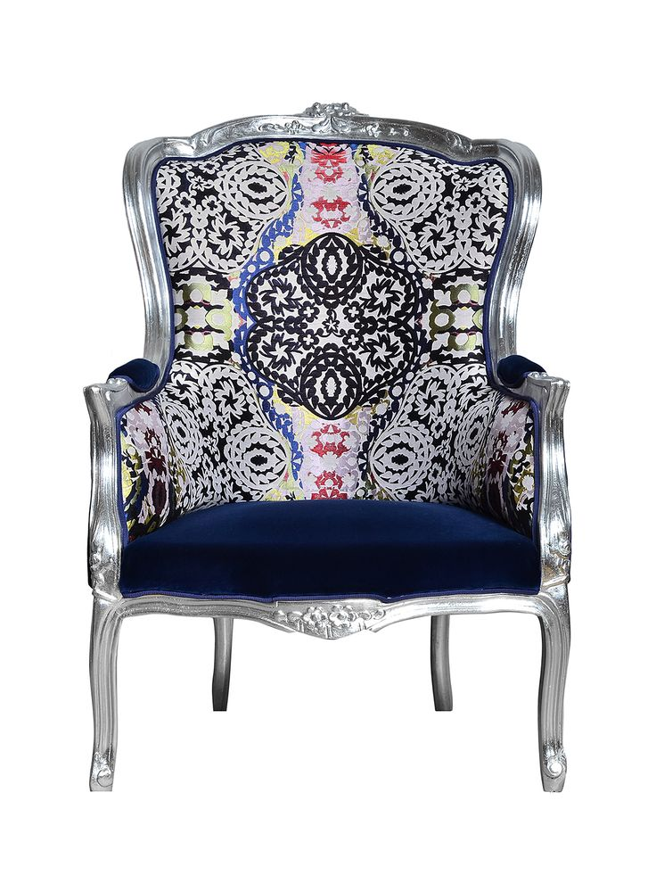 Elegant Louis XI style armchair. Seat and armrest upholstery in Dedar Adamo & Eva fabric and backrest upholstery in Christian Lacroix Souk Multicolore fabric. The frame is hand carved in beech wood finished in silver foil.  Price - $1,956.02  info@artchairs.co.uk  Dimensions  Height -105 cm Foot Stool - 42 cm Seating Width - 72 cm