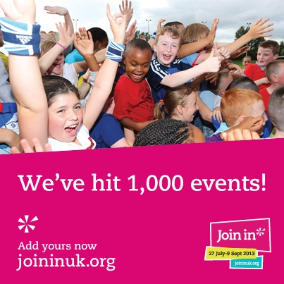 Over 1,000 events have been registered for Join In 2013 so far. Register your event now www.joininuk.org