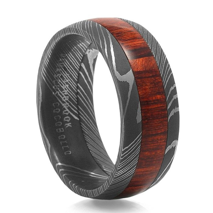 arbor damascus steel hardwood - Damascus Wedding Ring