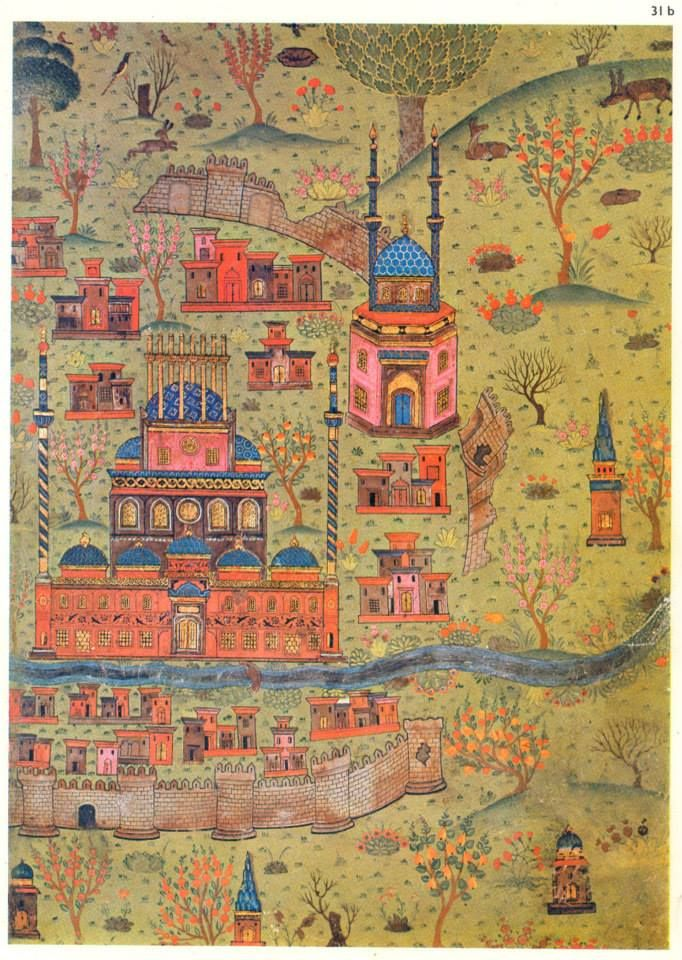 Matrakçı Nasuh-Map of Soltaniyeh-Beyan-i Menazil-i Sefer-i Irakeyn-i Sultan Suleyman, written circa 1537. (Istanbul University Library)
