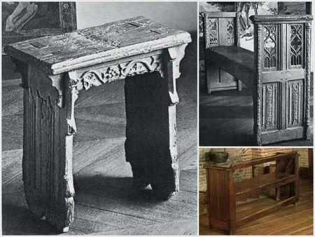 siège du moyen age, a gauhe: Escabeau en haut a droite: Bancelle en bas a droite:Banc dits à tournis