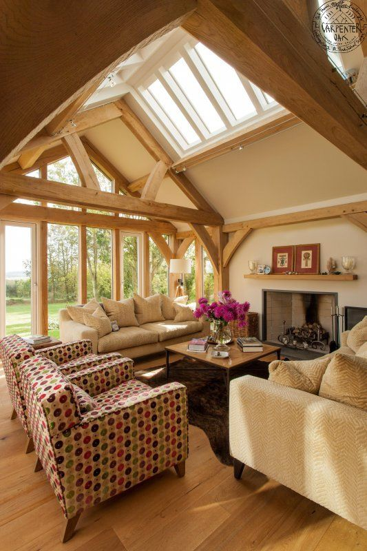 Like the light, airy feel of this room. We like the roof windows. Can imagine long windows like this looking out over westerly view at front of property.     This room has the perfect amount of wood. It has nice features but not too heavy.     We like the open space without it being monstrous.