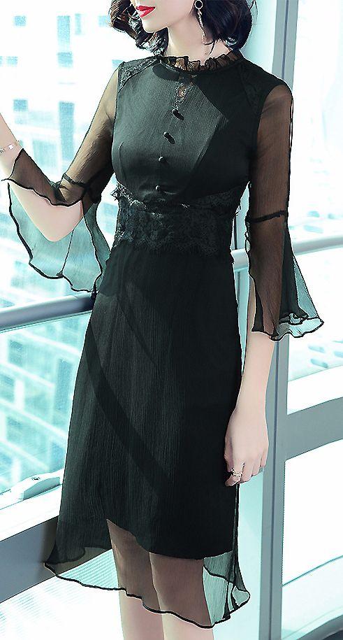 Casual Stand Collar Flare Sleeve Silk Dress