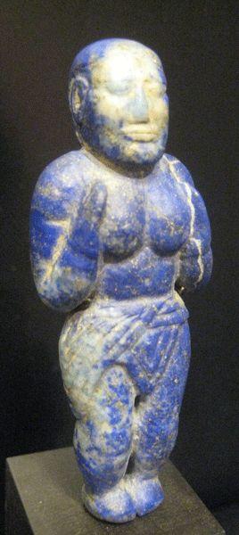 Elamite Lapis Lazuli Sculpture of a Standing Woman - OF.105 Origin: Central Asia Circa: 1200 BC to 900 BC