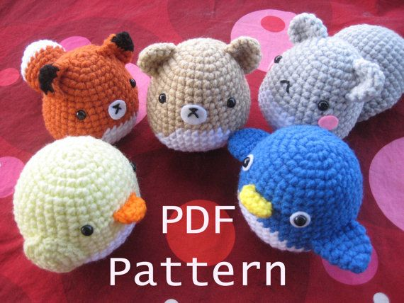 Amigurumi Crochet Critter Pattern - Squirrel, Fox, Penguin, Chick, Fox and more. $3.99, via Etsy.