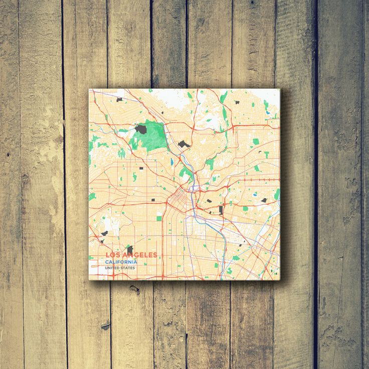 Gallery Wrapped Map Canvas of Los Angeles California - Subtle Colorful - Los Angeles Map Art