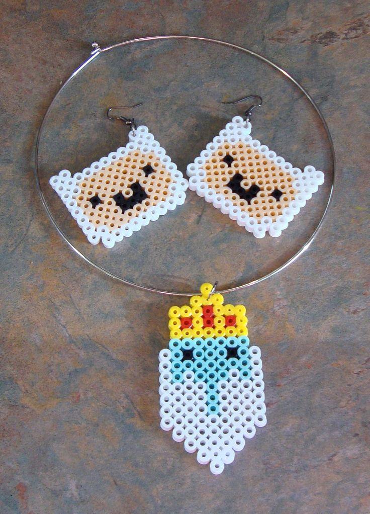 Adventure Time jewellery perler beads by cardinalchang on deviantart