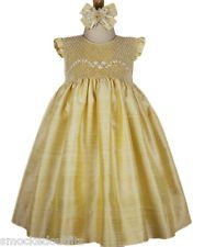 New Beautiful Girls Elegant Spring Summer Gold Silk Hand Smocked  Dress 16741