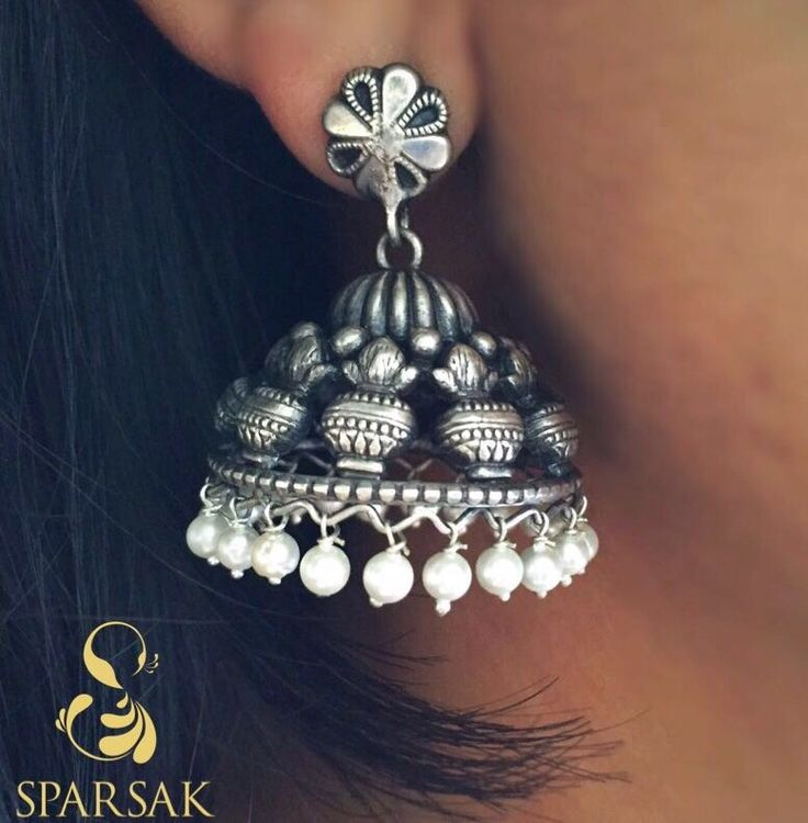 DESCRIPTION - Oxidised Sterling silver Jhumka earing pair Length - 1.8 inches Width - 1.0 inches  COMPOSITION: 92.5 Sterling Silver  For orders Message or Whatsapp on +91 9920025302  #jhumka #earings #shopnow #sparsak #jhumkas #jhumka #temple #templejewellery #sterlingsilver #inspiration #style #styleblogger #silver #instalike#jotd#instagood#instamood #swag #social #working lady #sparsakjewels