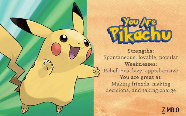 I took Zimbio's Pokémon quiz and I'm Pikachu! Who are you?null - Quiz
