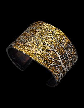 "Wolfgang Vaatz: Cuff in unrefined placer gold, 22k gold, 18k rose & 14k yellow gold fused on argentium silver, 1.8"" h x 2.67"" w x 1.67"" d."