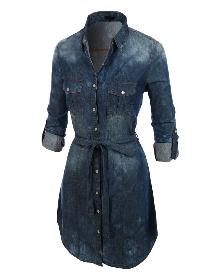 Womens Classic Long Sleeve Button Down Chambray Denim Dress | LE3NO