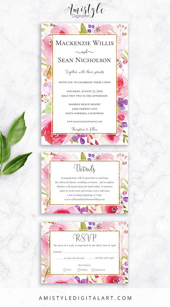 Printable Bridal Shower Invitation card - with elegant and romantic watercolor floral design by Amistyle Digital Art on Etsy